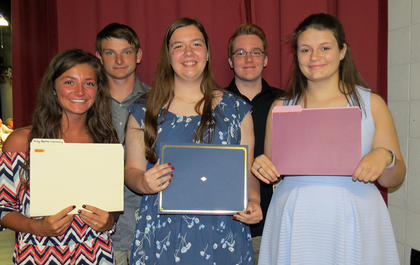 From left, Brooklyn Moore – King Baton Scholarship; Kendyl Beckett – William Chambers Memorial Scholarship; KoryBeth Whitehead – Judy Mitchell Letcher Scholarship; Lucas Sullivan – Kitchen-Challis Scholarship; Devin Mattox – Jane Allen Newman Scholarship.