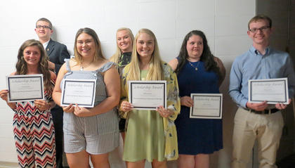 Kearns & Batson Scholarship. From left, Brooklyn Moore, Hannah Duncan, Kelby Gaunce, Jason Dye, Haley Fauste, Allison Nichols, Parker Grob.