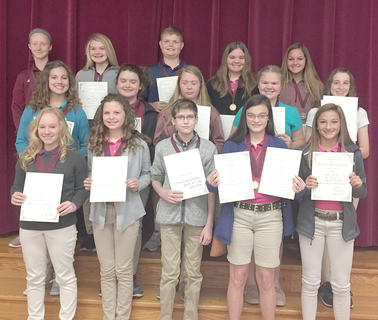 Medal Winners. Students recognized were: front row, from left, Rachel Rion, Lainey Vaughn, Duane Koch, Haylee Bills, Payton Slade; middle row, Devin Covert, Cheyenne Cole, Olivia Hatterick, Sidney Sowder, Riley Moses; top row, Kara Hines, Brooklynn Phelps, Blaine Biddle, Aaliyah Stidham, Kylie Hudgins.