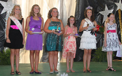 Winners in the Pre-Teen pageant were: From left, Melicity Fraley-2011 Miss Pre-Teen, Emmalee Lutes-prettiest smile, Annie Furnish-first runner-up, Sierra Ecklar-second runner-up, Noel Howard-2012 Miss Pre-Teen, and Madelynn Denniston-prettiest dress.