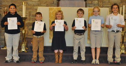 Most Christ Like. St. Edward School students receiving the Most Christ Like award were: from left, Samuel Finch, Isaac Furnish, Abigail Rion, Jacob Hargett, Morgan Cooper, Maria Furnish.