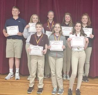Newberry Panel. Receiving awards were: front row, from left, Allen Crump, Zoe McComas, Riley Moses; top row, Blaine Biddle, Katlyn Fitzpatrick, Kara Hines, Jimmie Leigh McIlvain, Kenley Tumey.