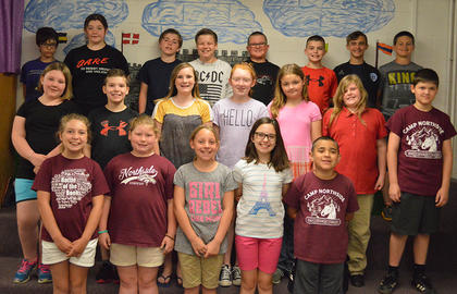 A/B Honor (5th Grade). Front row, from left, Lindsey Bennett, Emily Gootee, Madalyn Carson, Riley Grob, Steven Gomez; second row, Summer Hart, Cameron Fryman, Lexie Bowlin, Kayley Gammon, Alexis Conaway, Eliza Carter, Evan Winkle; back row, James Chipman, MaKayla Soard, Daniel Simpson, Jackson Myers, Dru Whitaker, Tanner Tumey, David Korona, Preston Williams.