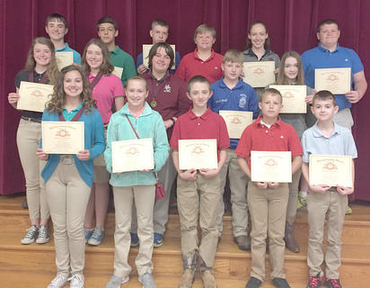 Perfect Attendance. Students receiving Perfect Attendance awards were: front row, from left, Devin Covert, Kalee Tucker, John Lawson, Daniel McNees, RJ Combs; middle row, Jimmie Leigh McIlvain, Seanna Skinner, Melanie Landrum, Zachary Wright, Destiny Yarnell; top row, Andrew Fryman, Dawson Covert, Logan Howard, Michael Partin, Jena Pope, Logan Glascock.