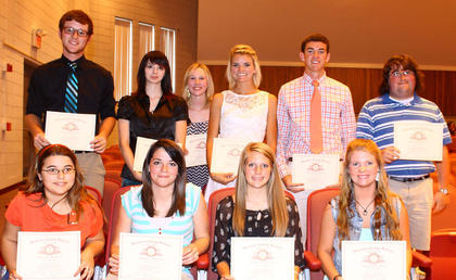 Perfect Attendance. Perfect attendance certificates were given to seniors, front row, from left, Shannon Lovelace (4 years), Tonya French (4 years), Madelyn Judy (4 years) and Carsey Campbell; back row, John King (4 years), Samantha McCall, Kaitlyn Williams, Haley Carr (13 years), Grant Carr (4 years), and Seth Fisher (4 years).