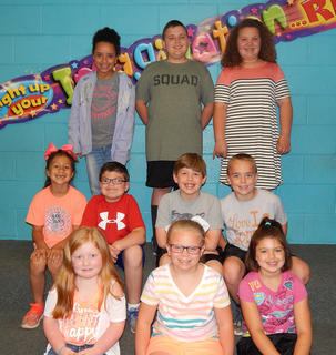 Perfect Attendance - K-5. Top row, from left, Amiah Cutwright, Harrison Hatter, Rylan Stroub; middle row, Sophia Moore, Lance Phillips, Matthew Rose, Charlie Hardbarger; bottom row, Lucy Brooks, Lauren King, Ambrie Borrego.