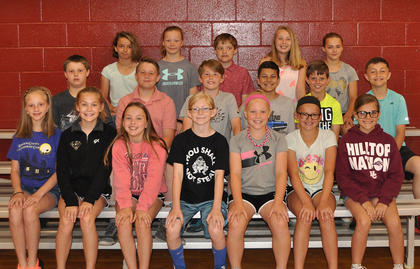 Physical Fitness Award. Front row, from left, Izabella Logan, Audrey Dawson, Meredith Vaughn, Allison Dye, Isabella Persinger, Haylie Sparks, Morgan Morris; middle row, Lucas Lunsford, Mason King, Wesley Nichols, Trenton Stafford, Boston Reynolds, Rece Grubb; back row, Kaydence Brewer, Hayden Lunsford, Alex Love, Alyssa Hall, Kira Persinger. Absent from photo was Samantha Scott-Mattox.