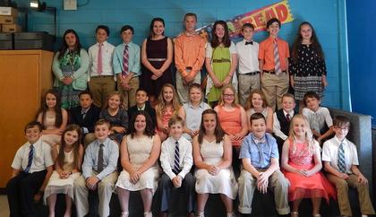 Presidential Academic Achievement Gold. Receiving awards were: top row, from left, Savannah White, Cason Wright, Cliffy McIlvain, Sarah Arnold, Garrett Wilson, Stacey Lamb, Kade Carpenter, JR McFarland, Araya Farmer; second row, Alissa Beam, Elijah Harris, Kodi Beagle, Nathaniel Garcia, Braci Molton, Kristin Whitehead, Chloe Vance, Chloe Grimm, Grant Ferguson, David Neace; third row, Eli Jones, Shelby Fugate, Nathan Bowen, Madison Renaker, Griffin Maners, Emma Renaker, Clay Vaughn, Sara Kate Marsh, John Craig.