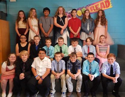 Presidential Academic Achievement Silver. Receiving awards were: top row, from left, Maggie Lawrence, Meredith Fryman, Jacob Reyneros, Hadlie Crump, Daemion McDaniel, Caitlin Taylor, Gracey Funkhouser; second row, Daeyona Thompson, Tristin Wrather, Ethan Kreer, Elijah Phelps, Connor Lewis, Sam Rose, Aliva Watkins; bottom row, Ehlana Edwards, Nathaniel Russell, Aiden Wyrick, Caleb Linville, Jackson Marsh, Chase Linkous, Chase Asbury.