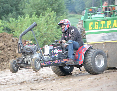 This Motorcycle Class lawn tractor was disqualified for running off the track on Monday night.