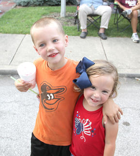 Calvert Duffie and Lena Raines are day-care friends who played together at Carnival Night.