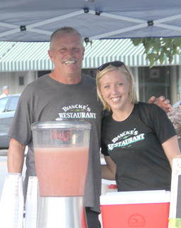 Mike Seaman and his daughter, Mary Todd Ashbrook manned the Biancke's Restaurant booth.