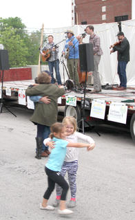 The 'young' and the 'younger' dancing on Friday night in front of the band.