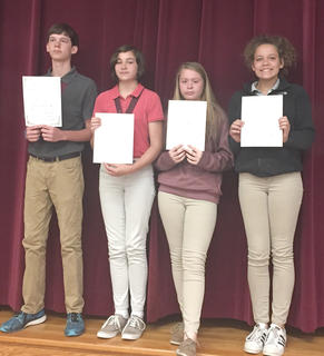 Student Leadership. Receiving awards were: from left, Jerred Roberts, Isabel Sims, Olivia Hatterick, MacKenzie Morris.
