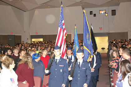 The HCHS 51st JROTC Color Guard presented the flags prior to the Veterans Day Program at the high school auditorium on Friday, Nov. 9.