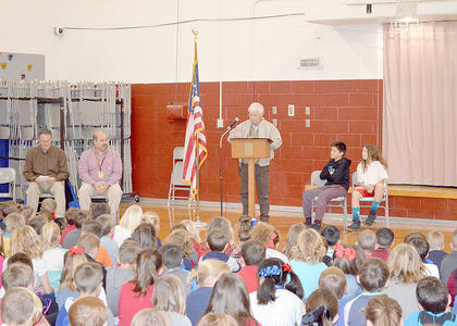 Billy Blackburn, former HCHS ROTC instructor and current director of transportation for the school district, spoke at Southside on Friday.