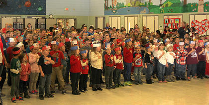 Northside Elementary School students performed the Pledge of Allegiance to open the Veterans Day program on Friday morning.