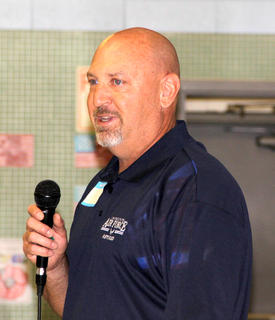 Scott Linville, retired from the US Air Force, was the keynote speaker at the Northside Elementary School's Veterans Day program on Friday. Linville is a former Harrison County student and is the brother of Northside principal Sharon Hill.