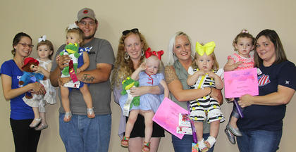 Class IV Girls (1-2 years old). From left, Sophie Bennett, first place; Raelynn Moore, second place; Scout Watts, third place; Harper Snapp, best attire; Jamison Anderson, cutest smile.