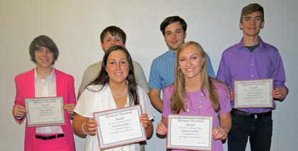 AP Scholars with Honor or Distinction. Front row, from left, Madeline Sparks (Distinction), Madison Kellione (Distinction, Presidential Volunteer Service Award Winner); back row, Hunter Sparks (National AP Scholar, National Merit Scholar Program), DeForest Adams (Honor), Isaac Sims (Honor), Dylan Etienne (Distinction).