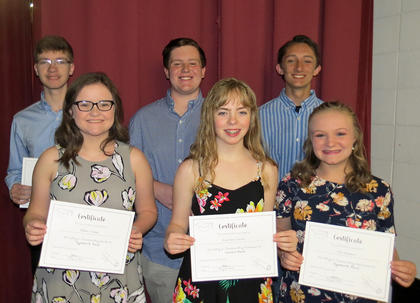 Band Awards. Allison Combs, Kathleen Clarke, Liza Gossett, Zachary Lutes, Will Lucky, Evan Copes. Absent from photo was Ryan Ripley.