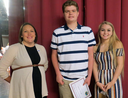 Harrison County Conservation Writing Awards. Blaine Biddle (2nd Place), Cindy Barker (3rd Place), pictured with Kayleigh Evans. Absent from photo was Kara Hines (1st Place).