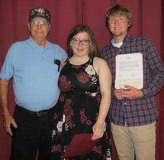 Disabled American Veterans Military Connected Scholarship was presented to Sierra Boisseau, center, and Daniel Faulconer, right, by Jim Long.