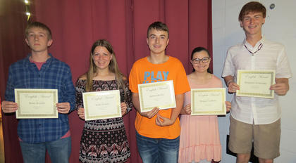 English 10 Awards. Brian Royalty, Molly Perkins, Gabriel McNay, Meagan Griffieth, Ben Lemmings. Absent from photo was Elizabeth Uhles.