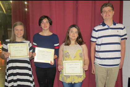 English 9 Awards. Sidney Sowder, Isabel Sims, Cheyenne Cole, Blaine Biddle. Absent from photo were Devin Covert and Kara Hines.