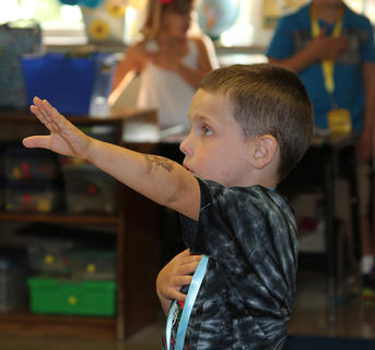 Gabe, Eastside Elementary, seems to be a little confused on how to address the Pledge of Allegiance.