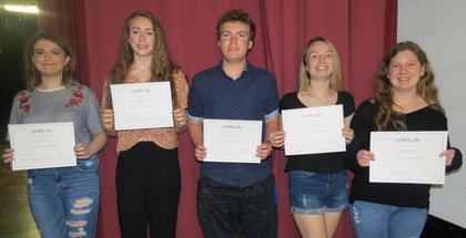 French III Awards. Katie Stonich, Devin Stamper, Alexis Jones, Kourtney Harney. Absent from photo was Bailey Lawrence.