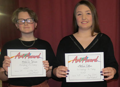 Freshman Art Awards. EmmaLee Johnson and Athena Collins. Absent from photo were Olivia Hatterick and Ellie Henderson.