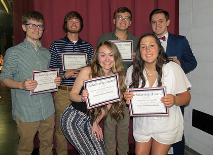 Kearns & Batson Scholarship. Front row, from left, Sophia Hatterick, Madeline Sparks; back row, Connor Lakes, Andrew Day, Colton Sosbe, Branson Gillispie.