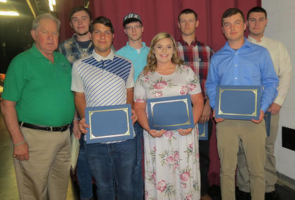 Manufacturing Academy Awards. Presented by Gene Childress, front row, left, front row, from left, Isaiah Stiltner, Gracie Murphy (also received the BCTC Glitz Scholarship), Garrett Traylor; back row, Spencer Gray, David Duncan, Joe Dunn, Jonah Case.