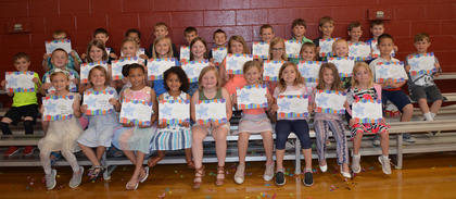 Math* and Reading Award**. Front Row: Lucy Sorrell**, Ruby Mattox**, Grace Beil*, Amiyah Custard*, Adilynn Moore**, Lilly Dunn*, Delilah Massey**, Natalie Johnson*, Graci Ware**; middle row, Hagen Hunt**, Lucas Price*, Alexis Mattox**, Kyndra Caldwell**, Kate Whalen**, Macy Clay*, Kaylee Banks*, Taylor Florence**, Aubree Taylor**, Brenden Hollon**, Anthony Galasso*, Ford Furnish*; back row, Garrett Bell**, Liam Dennie*, Treyden Frazier**, Elliot Smith**, Ryker Marshall**, Jonathon Fincher*, Brayden Lonaker**, Lucas Carr*, Jordan Northcutt*, Chase Craycraft*, Dawson Purvis*. Absent from photo were Nate Caldwell*, Tristin O'Brien** and Maddy Shaw*.