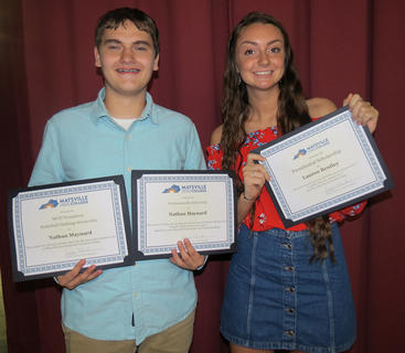 Maysville Community and Technical College Scholarship was presented to Nathan Maynard, left, and Lauren Bentley.