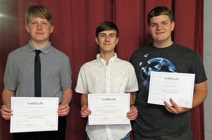 Percussion Awards. Gavin True, Justin Gaunce, Justin Adams. Absent from photo were Kenneth Dunn and Ethan Verrill.