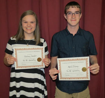 Pre - AP Geometry Award. Sidney Sowder and Allen Crump. Absent from photo was Makenzie Fister.