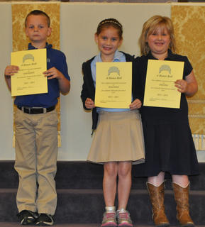 A Honor Roll All Year. Students, from left, Calvin Heimlich, Skylar Hatfield, Abigail Rion were awarded with the A Honor Roll for the year.